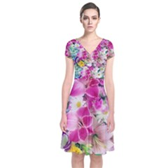 Colorful Flowers Patterns Short Sleeve Front Wrap Dress