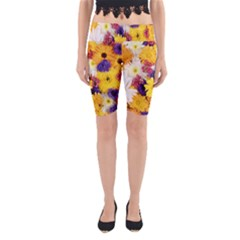 Colorful Flowers Pattern Yoga Cropped Leggings
