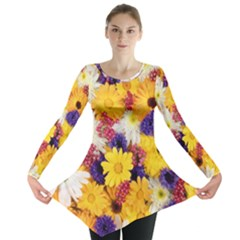 Colorful Flowers Pattern Long Sleeve Tunic