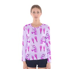 Unicorns & Icecreams In Mallow Wildflower Women s Long Sleeve Tee