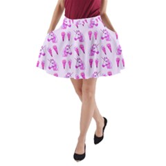 Unicorns & Icecreams In Mallow Wildflower A-Line Pocket Skirt