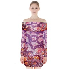 Colorful Art Traditional Batik Pattern Long Sleeve Off Shoulder Dress