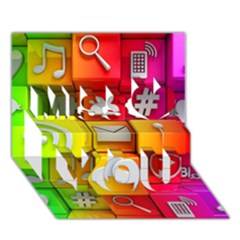 Colorful 3d Social Media Miss You 3D Greeting Card (7x5)