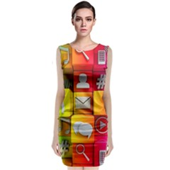 Colorful 3d Social Media Classic Sleeveless Midi Dress
