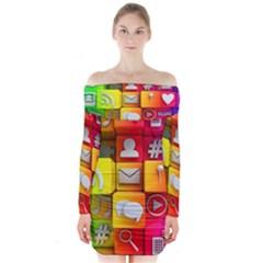 Colorful 3d Social Media Long Sleeve Off Shoulder Dress