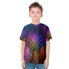 Colored Rays Symmetry Feather Art Kids  Cotton Tee