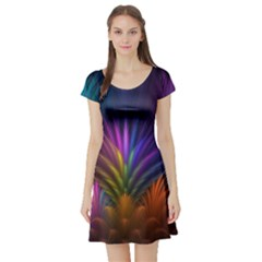 Colored Rays Symmetry Feather Art Short Sleeve Skater Dress
