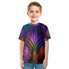 Colored Rays Symmetry Feather Art Kids  Sport Mesh Tee