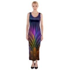 Colored Rays Symmetry Feather Art Fitted Maxi Dress
