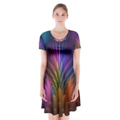 Colored Rays Symmetry Feather Art Short Sleeve V-neck Flare Dress
