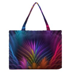 Colored Rays Symmetry Feather Art Medium Zipper Tote Bag