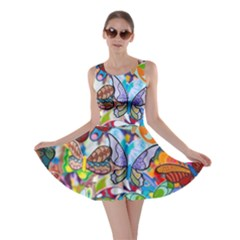 Color Butterfly Texture Skater Dress