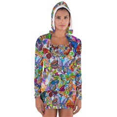 Color Butterfly Texture Women s Long Sleeve Hooded T-shirt