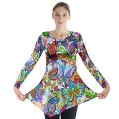 Color Butterfly Texture Long Sleeve Tunic