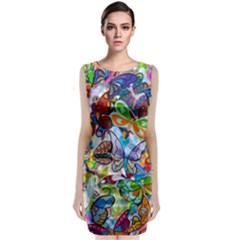Color Butterfly Texture Classic Sleeveless Midi Dress