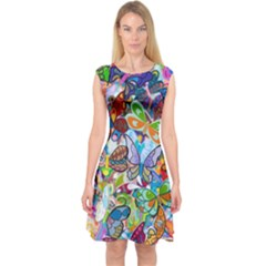 Color Butterfly Texture Capsleeve Midi Dress