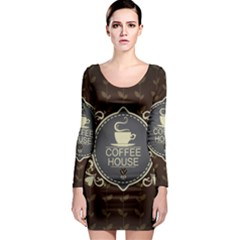 Coffee House Long Sleeve Bodycon Dress