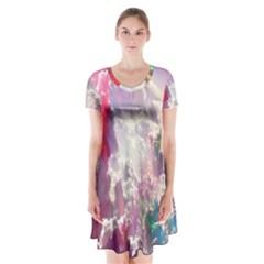 Clouds Multicolor Fantasy Art Skies Short Sleeve V-neck Flare Dress