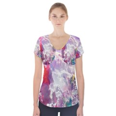 Clouds Multicolor Fantasy Art Skies Short Sleeve Front Detail Top