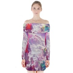 Clouds Multicolor Fantasy Art Skies Long Sleeve Off Shoulder Dress