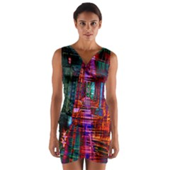 City Photography And Art Wrap Front Bodycon Dress