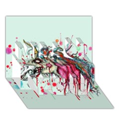 Zombie Unicorn Miss You 3D Greeting Card (7x5)