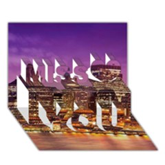 City Night Miss You 3D Greeting Card (7x5)