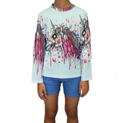 Zombie Unicorn Kids  Long Sleeve Swimwear