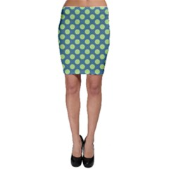Teal & Lime Polka Dots Bodycon Skirt