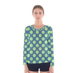 Teal & Lime Polka Dots Women s Long Sleeve Tee