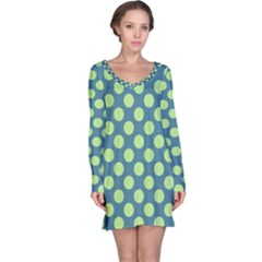 Teal & Lime Polka Dots Long Sleeve Nightdress