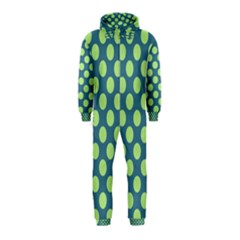 Teal & Lime Polka Dots Hooded Jumpsuit (kids)