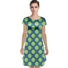 Teal & Lime Polka Dots Cap Sleeve Nightdress