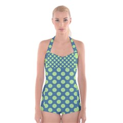 Teal & Lime Polka Dots Boyleg Halter Swimsuit