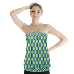 Teal & Lime Polka Dots Strapless Top