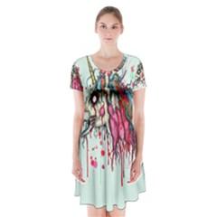 Zombie Unicorn Short Sleeve V-neck Flare Dress