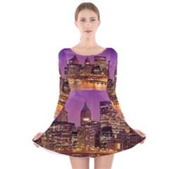 City Night Long Sleeve Velvet Skater Dress