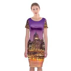 City Night Classic Short Sleeve Midi Dress