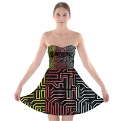 Circuit Board Seamless Patterns Set Strapless Bra Top Dress