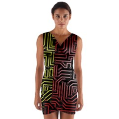 Circuit Board Seamless Patterns Set Wrap Front Bodycon Dress