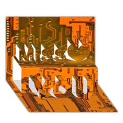 Circuit Board Pattern Miss You 3D Greeting Card (7x5)