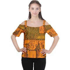 Circuit Board Pattern Women s Cutout Shoulder Tee