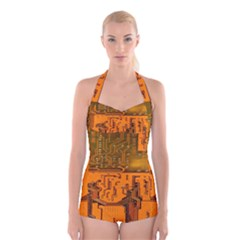 Circuit Board Pattern Boyleg Halter Swimsuit