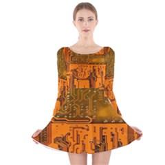 Circuit Board Pattern Long Sleeve Velvet Skater Dress