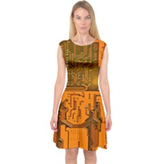 Circuit Board Pattern Capsleeve Midi Dress