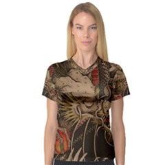 Chinese Dragon Women s V-Neck Sport Mesh Tee