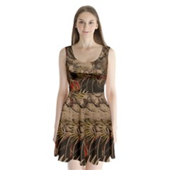 Chinese Dragon Split Back Mini Dress