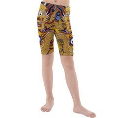 Chinese Dragon Pattern Kids  Mid Length Swim Shorts