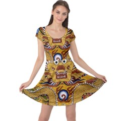 Chinese Dragon Pattern Cap Sleeve Dresses