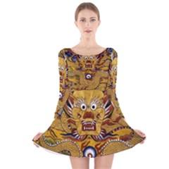 Chinese Dragon Pattern Long Sleeve Velvet Skater Dress